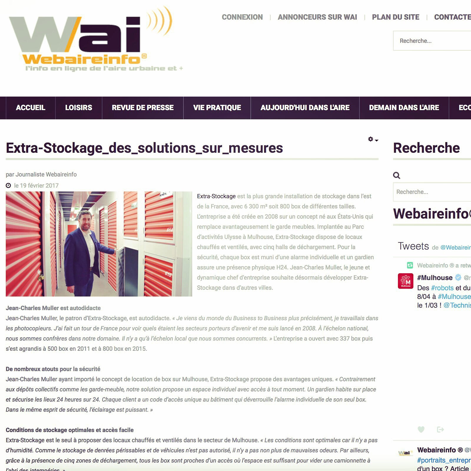 Article Journal WAI Web Aire Info Extra Stockage Jean-Charles Muller