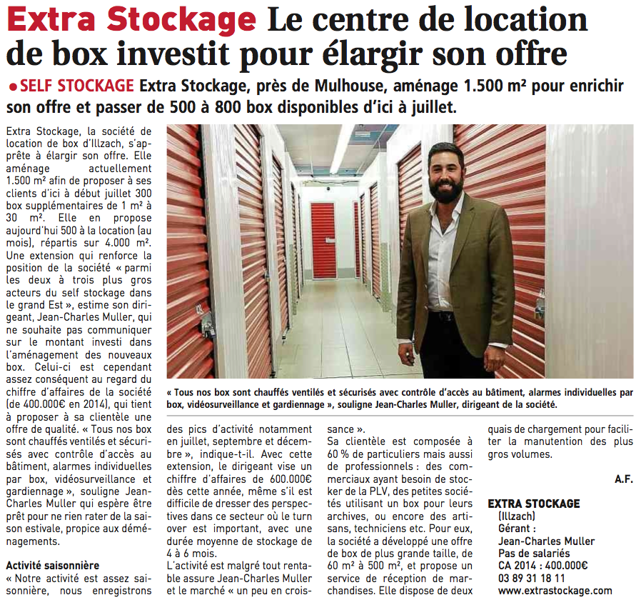 Article Journal des Entreprises Extra Stockage jean-Charles MULLER
